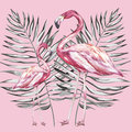 Pink Flamingo Watercolor Illustration Isolated On White Background. Hand Drawn Sketch With Palm Leaf. Royalty Free Stock Image - 98212576