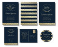 Set Of Modern Chic Gold Wedding Invitation Card Vector Design. Royalty Free Stock Photos - 98217738