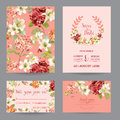 Autumn Vintage Hortensia Flowers Save The Date Card For Wedding, Invitation, Party Royalty Free Stock Photography - 98239497