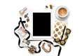 Flat Lay Fashion Feminine Home Office Workspace With Tablet, Cup Of Coffee, Stylish Black Gold Notebooks, Cosmetics And Jewelry On Royalty Free Stock Photo - 98264705