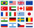 Set Of Popular Country Flags. Glossy Rectangle  Icon Set. Stock Photos - 98270223