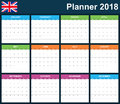 UK Planner Blank For 2018. English Scheduler, Agenda Or Diary Template. Week Starts On Monday Royalty Free Stock Photo - 98270265