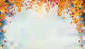 Beautiful Autumn Foliage Background With Brunches And Falling Tree Leaves At Sky Royalty Free Stock Photo - 98280795
