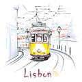 Yellow 28 Tram In Alfama, Lisbon, Portugal Stock Images - 98292454