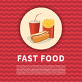 Hot Dog, French Fries And Soda Cup Poster. Cute Cartoon Colored Picture Of Fast Food. Menu Design Elements. Vector Stock Photography - 98296072