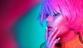 Fashion Model Woman In Colorful Bright Lights Royalty Free Stock Photography - 98312747