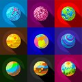 Space Planets Icons Set, Flat Style Royalty Free Stock Image - 98321256