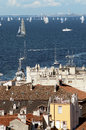 Roofs Of Trieste City With The Barcolana Regatta Royalty Free Stock Photos - 98352828