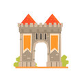 Medieval Gate And Two Guard Towers, Ancient Architecture Building Vector Illustration Stock Photos - 98355823