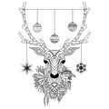 Line Art Design Of Christmas Deer Head With Decorative Balls And Snowflakes And Flowers. Vector Illustration Stock Image - 98360211