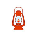 Vintage Camping Lantern Isolated On White Background. Retro Gas Lamp With Glowing Fire Wick Stock Images - 98371584