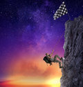 Businessman Climb A Mountain To Get The Flag. Achievement Business Goal And Difficult Career Concept Royalty Free Stock Photos - 98373158