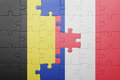 Puzzle With The National Flag Of Belgium And France Stock Image - 98380161