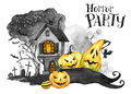 Watercolor Landscape. Old House, Cemetery And Holidays Pumpkins. Halloween Holiday Illustration. Magic, Symbol Of Horror Royalty Free Stock Image - 98388726