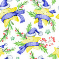 Watercolor Seamless Pattern With Cartoon Stars In Warm Cloths , Leaves And Berries. New Year. Merry Christmas Royalty Free Stock Photos - 98390648