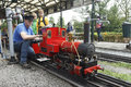Steam Miniature Train Repairer Royalty Free Stock Photography - 98396687