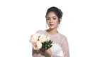 Lovely Asian Beautiful Woman Bride In White Wedding Gown Dress W Royalty Free Stock Image - 98407216