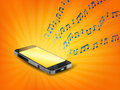 Smartphone Playing Music With Floating Sample Random Music Note Not Match Any Song Stock Images - 98410514