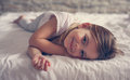 Cute Little Girl In Bed. Royalty Free Stock Photos - 98435198
