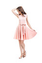 Full Length Portrait Of Happy Beautiful Woman In Pink Dress Isol Stock Image - 98440981