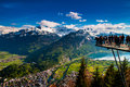 Aerial View Of Interlaken And Swiss Alps From Harder Kulm View P Stock Photo - 98443070