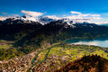 Aerial View Of Interlaken And Swiss Alps From Harder Kulm View P Royalty Free Stock Photo - 98443495