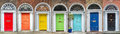 Panoramic Rainbow Colors Collection Of Doors In Dublin Ireland Royalty Free Stock Images - 98447129