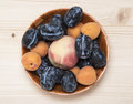 Fruit Plate Made From Ripe Plums, Peaches And Apricots Stock Photos - 98468943