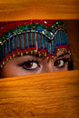 Belly Dancer Peeking From Behind Veil Stock Images - 9850404