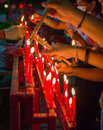 Burning Red Chinese Candle In Temple Royalty Free Stock Image - 98501006