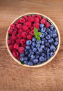 Blueberries And Raspberries In Clay Bowl. Freshly Picked Berries On Rustic Background. Stock Photography - 98501822