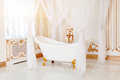 Luxury Bathroom In Light Colors With Golden Furniture Details And Canopy. Elegant Classic Interior. Stock Image - 98502581