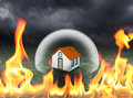 Home Protection In Crystal Barrier With Fire Flame Outside Stock Image - 98507621