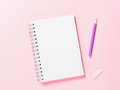 Top View Of Blank Note With Pen On Pink Background Stock Photos - 98512843