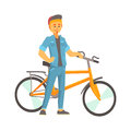Smiling Young Man In Casual Clothes Standing Next To A Bike, Sport Lifestyle, Vector Stock Photography - 98513732