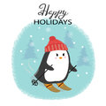 Merry Christmas Card With Cute Skiing Penguin. Royalty Free Stock Images - 98516389