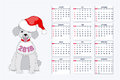 Creative Calendar With Drawn Toy Dog For Wall Year 2018 Stock Images - 98517854