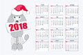 Creative Calendar With Drawn Toy Dog For Wall Year 2018 Stock Photo - 98517900