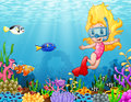 Little Girl Diving In The Sea Royalty Free Stock Image - 98550546