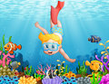 Little Boy Diving In The Sea Stock Photos - 98550743