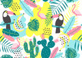 Tropical Seamless Pattern With Toucan, Flamingos, Cactuses And Exotic Leaves. Royalty Free Stock Image - 98577006