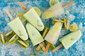 Crushed Ice Cubes And Lemon, Kiwi, Homemade Ice Cream On Vintage Stock Image - 98577851
