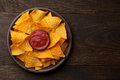 Mexican Snack Nachos Or Tortilla In Clay Plate With Dip Sauce On Rustic Wooden Background. Royalty Free Stock Image - 98584416