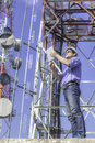 Engineer Communications Check Antenna Royalty Free Stock Image - 98623806