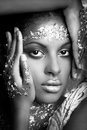 Black Young Beauty Portrait Woman With  Golden Makeup In Bw Royalty Free Stock Image - 98624926