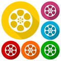 Film Reel Icons Set With Long Shadow Stock Photo - 98635850