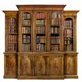 Bookcase Dresser Breakfront Old Antique English With Books Stock Image - 98640581