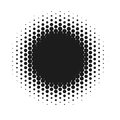 Halftone Dotted Vector Abstract Background, Dot Pattern In Circle Shape. Black Comic Banner Isolated White Backdrop Royalty Free Stock Image - 98645786