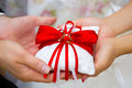 Golden Wedding Rings On Red And White Ring Pillow In Hands Of Bride And Groom Stock Images - 98648654