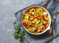 Skillet Vegetarian Vegetable Fajitas On The Gray Table Royalty Free Stock Photography - 98659457